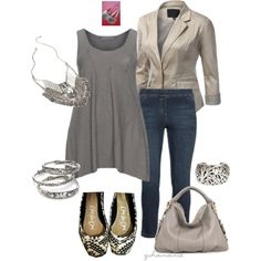 A fashion look from March 2015 featuring embellished tops, plus size jackets and white leggings. Browse and shop related looks.