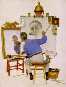 Triple Self-Portrait by Norman Rockwell Oil on Canvas, 44 x 34 in. The Norman Rockwell Musuem at Stockbridge Before I wr. Peintures Norman Rockwell, Norman Rockwell Art, Drawing Sketches, Drawings, Alphonse Mucha, Arte Pop, Jackson Pollock, Pin Up Art, Famous Artists