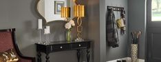 Luxe entryway - bring affordable luxury to your home with coat racks, cabinet knobs and drawer pulls Coat Racks, Grey Wood, Warm Grey, Cabinet Knobs, Drawer Pulls, Polished Nickel, Candle Sconces, Entryway, Wall Lights