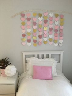 Girl bedroom decor Pink and gold bedroom DIY bedroom project Paper Hearts Pink and Gold Little girls Decor Heart Banner IKEA Hemnes Bed White full