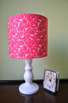 Lampshade Red and White Cotton Fabric Drum Lamp shade by ShadowbrightLamps on Etsy