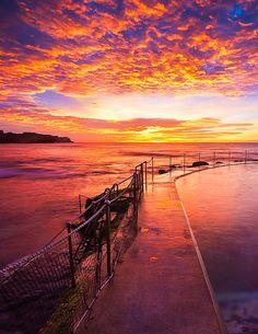 Bronte Pool, Australia - australian sunset - fishing deck - sea and sky on fire - sunset colors Beautiful Sunset, Beautiful World, Landscape Photography, Nature Photography, Perspective Photography, Sunset Colors, Portraits, Nature Photos, Beautiful Landscapes