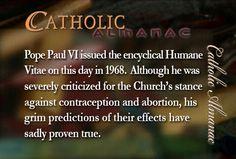 #PopePaulVI #HumanaeVitae