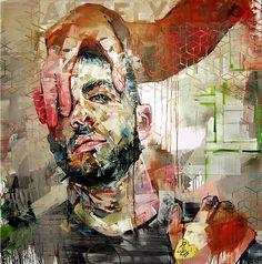 """Élysées"" - Andrew Salgado, mixed media {contemporary #expressionist male head bearded man face portrait painting} andrewsalgado.com"