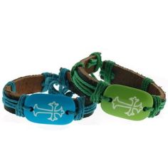 Genuine Dark Leather Bracelets with Cross Sign in Blue and Green with Matching…