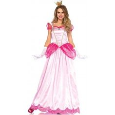 Classic Pink Princess Womens Halloween Costume Our Price $48.00  Long Pink Princess womens gown in 2 shades of pink has a scalloped hem sheer sleeves and peplum with gold braid trim. Comes with the matching crown headband.  Other items shown sold separately.  #cosplay #costumes #halloween