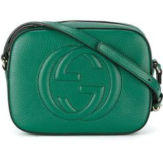 Gucci GG Soho crossbody bag (6,530 CNY) ❤ liked on Polyvore featuring bags, handbags, shoulder bags, green, genuine leather shoulder bag, cross-body handbag, leather cross body handbags, gucci crossbody and crossbody purses