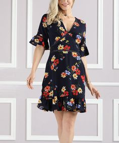 Look what I found on #zulily! Navy Floral Ruffle Bell-Sleeve Dress - Plus Too #zulilyfinds