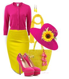 """""""Yellow and Pink"""" by louvillia ❤ liked on Polyvore featuring Sensi Studio, Oscar de la Renta, Charlotte Olympia, Stefanel, INC International Concepts and San Diego Hat Co."""