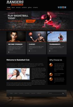 Rangers Basketball Club Twitter Bootstrap HTML Template by Dynamic Template