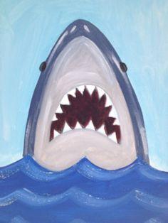 Shark Painting/Beach Art/Art for kids by TheGildedPolkaDot on Etsy
