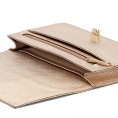 Shimmer Leather Mini Clutch   Champagne