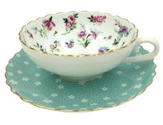 Amazon.com | Jsaron Vintage Blue Flower Tea Coffee Cup with Spoon and Saucer Set Coffee Mug: Tea Sets