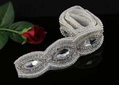 QueenDream Rhinestone Bridal Applique Trim Crystal bead Applique for Bridal Sash DIY Craft Applique Popular Applique 1 yard -- Check this awesome item by going to the link at the image.