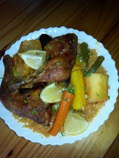 Tchep au poulet, manioc, gombos, patate douce, carotte, courgette,aubergine