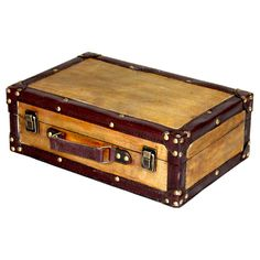 This gorgeous decorative trunk is a great treasure box and is a perfect way to fill an empty place in your home or heart.This trunk is crafted from high-quality wood and leather with a brown finish. C