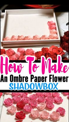 Mothers Day Gifts Diy Discover How To Make An Ombre Paper Flower Shadow Box You learned How To Make Paper Rose now what to do with them. One of my favorite paper rose projects is the Ombre paper flower shadow box. Flower Shadow Box, Diy Shadow Box, Shadow Box Frames, Christmas Gifts For Mom, Christmas Diy, Holiday Crafts, Paper Flowers Craft, Diy Flowers, Flower Crafts