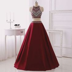 Real Made Two Pieces A-Line Prom Dresses, Floor-Length Evening Dresses,Prom Dresses, 2 Piece Prom Dresses Red