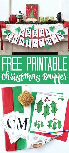 Merry Christmas Banner Printable, Printable Christmas Decorations, Christmas Bunting, Holiday Banner, Free Christmas Printables, Printable Crafts, Christmas Paper, Christmas Activities, Free Printable