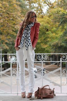 orange leather jacket, polka dot scarf, white jeans, leather peep toes, great bag....