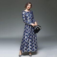>> Click to Buy << New Fashion Robe for Female Printed Lace Long Dresses Women's Blue Floral Vestido Elegant O-neck Big Pendulum Maxi Dress N609 #Affiliate