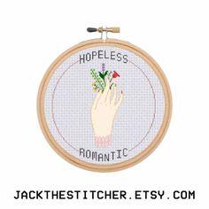 Hopeless Romantic Subversive Modern Cross Stitch Template Pattern Instant PDF Download by JackTheStitcher