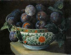 Plums in Chinese Porcelain Bowl by Circle of François Desportes