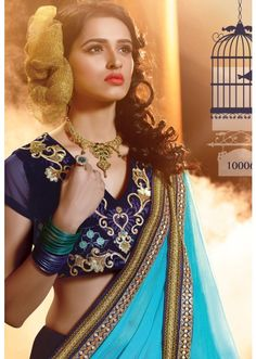 Conspicuous Blue Colored Embroidered Viscose Georgette Lehenga Choli ( 2 of 2 ), Product Code: TSSTD10006, Price: Rs.7,760  [After 20% off], USD $ 117