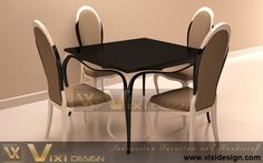 White Black Furniture Painted Chair Table Modern Dining Room Set