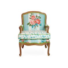 French-Style Floral Armchair (10,150 CNY) found on Polyvore featuring home, furniture, chairs, accent chairs, french furniture, floral chair, floral accent chair, french armchair and floral furniture