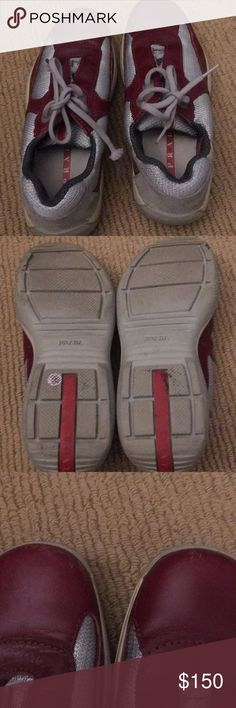 Authentic Prada sneakers Prada sneakers in good condition. Worn only a few times. There are a few scuffs on the toe(see pic) they run a little big Prada Shoes Sneakers