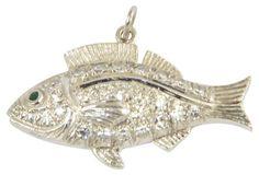 Platinum & Diamond Fish Charm Pendant