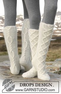 "Knitted DROPS Socks with cables in ""Merino Extra Fine"" and ""Kid-Silk"". ~ DROPS Design"