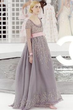 Chanel couture spring 2005 grey embellished gown with pink lace