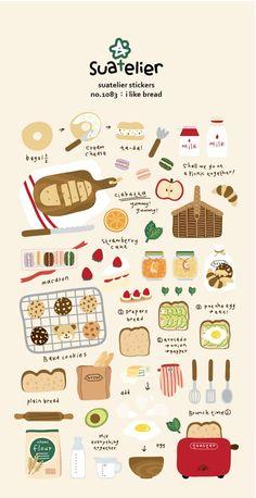 I like bread stickers-scrapbooking stickers-kitchen Scrapbooking Stickers, Craft Stickers, Printable Stickers, Kitchen Stickers, Planner Stickers, Journal Stickers, Stickers Kawaii, Cute Stickers, Korean Stickers
