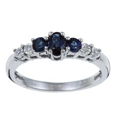 10k White Gold Blue Sapphire and Diamond Accent Ring (size - 7), Women's