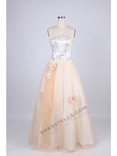 Classic A-Line Stapless Floor Length Champagne Prom/Evening Dress With Flowers