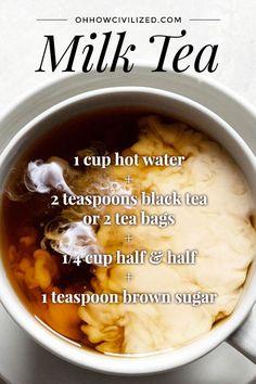 teawithmilk warming milktea creamy milk tea Creamy warming milk teaYou can find Tea recipes and more on our website Yummy Drinks, Healthy Drinks, Yummy Food, Healthy Recipes, Healthy Eats, Simple Recipes, Vegan Tea Recipes, Coffee Recipes, Hot Tea Recipes