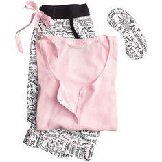The Dreamer Henley Pajama - Victoria's Secret ($57) ❤ liked on Polyvore featuring intimates, sleepwear, pajamas, pjs, victoria secret sleepwear, pyjamas and victoria secret pjs