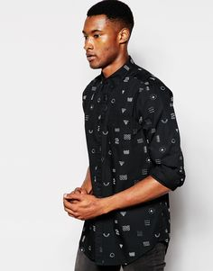 affbff2c36738 Image 1 of ASOS Shirt In Longline With Long Sleeve With Hyrogliphics print  Camisas Largas