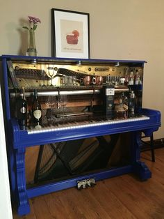 Cole and I repurposed an old piano into a bar! Refurbished Furniture, Repurposed Furniture, Furniture Makeover, Painted Furniture, Armoire Makeover, The Piano, Piano Desk, Furniture Logo, Diy Furniture