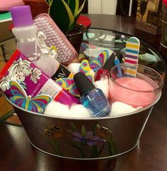 Nail spa gift basket made by yours truly. All items from Dollar Tree.