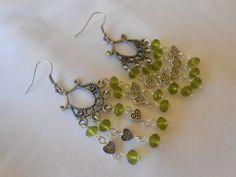 Orecchini  chandelier con cristalli verdi., by Le gioie di  Pippilella, 8,00 € su misshobby.com