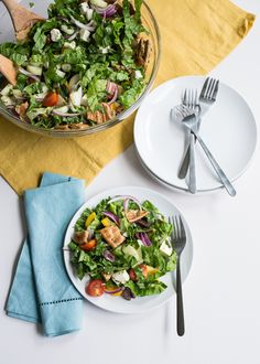 Greek Fattoush Salad from @ohmyveggies and @ktkare