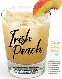 Liquor Drinks, Whiskey Drinks, Cocktail Drinks, Cocktail Recipes, Alcoholic Drinks, Beverages, Pool Drinks, Peach Drinks, Bartender Drinks
