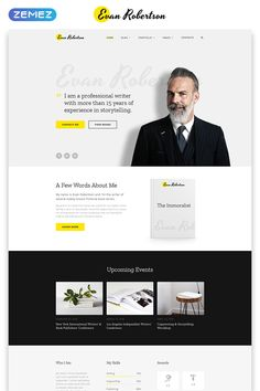 Evan Robertson – Personal Multipage Clean HTML Bootstrap Website Template Bootstrap Template, Html Templates, Cv Template, Blogger Templates, Cv Website, Website Ideas, Personal Website Design, Cv Online, Clean Web Design