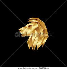Golden Lion Head Polygon Style Logo On A Black Background