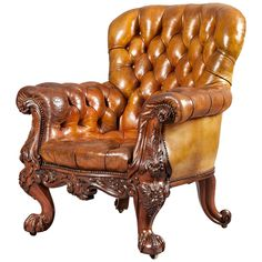 Gentleman's Leather Library Chair Firmly Attributed to Gillows of Lancaster | See more antique and modern Club Chairs at http://www.1stdibs.com/furniture/seating/club-chairs