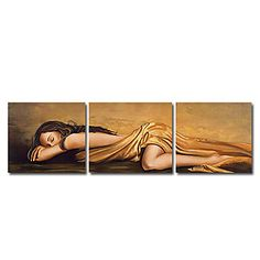 Beautiful Sleeping Girl Oil Painting- Set of 3 - Free Shipping