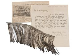 Silver bullion fringe memento from the cataflaque of Pres. Lincoln's funeral service in Philadelphia (letter/photo describing item.)